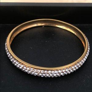 PJM bangle bracelet gold tone rhinestones NOS